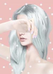 pastel pastelhair dots polkadots pink drawing painting woman