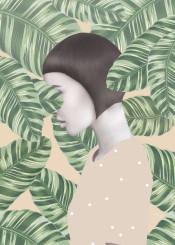 floral woman girl leaf boho haircut jungle polkadots ethno