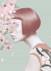 floral woman girl pastel haircut hair bob flowers