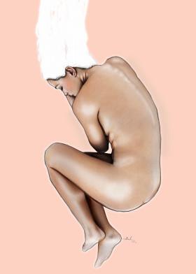 pastel woman naked sleeping hair painting