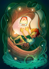 fantasy children light lantern summer warm magical boy nature fireflies whimsical scene kids colorful saturated conceptual adventure encounter original digitalart ipadart illustration surreal yellow green floating flying boat swamp