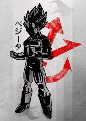 vegeta dbz anime manga red crimson japanese japan fanfreak saiyan fan art simple ink inking goku villian character popular pop culture amazing displate super symbol power level strong inspire