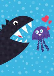jellyfish fish sea ocean marine monster cartoon cute love heart hearts aquatic creature creatures funny vector illustration
