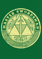 power wisdom link courage triforce tri master swordsman 1996 games game gamer gaming zelda legend of the sword cool vintage hyrule hero not zanos fan art fanfreak typography 2016
