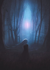 fantasy white hair girl forest trees strange night alien light