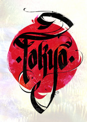calligraphy typography lettering tokyo japan poster ink grunge