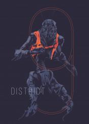 district9 schifi movie film poster design blue orange
