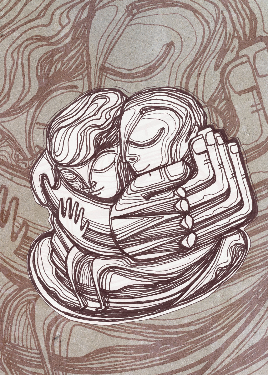 Hand drawn illustration or drawing of a man and a woman hugging each o 203483