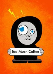 coffee funny character fun characters lightnings buzz buzzed hyped nervous anxious nervousness anxiousness orange