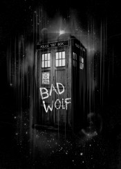 doctor who bad wolf space police box call doctorwho rose tyler time lord travel spaceship ship craft star stars moon clouds cloud black white halftone ink inking sci fi syfy british england fanfreak fan art freak