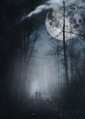 surreal night moon people dark mood fog mist trees eerie texture photography path hike photomanipulation composing