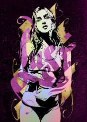 girl sexy sexygirl attractive lust sex calligraphy typography textart purple gold ink