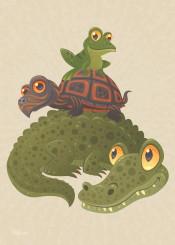 alligator turtle frog reptile amphibian animal swamp florida louisiana crocodile vector cartoon wetlands everglades