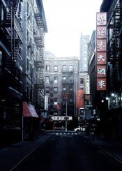 chinatown street nyc manhattan newyork fog morning color urban explore shop ieroglif chinese