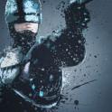 Robocop. Splatter effect artwork inspired by the Robocop films.