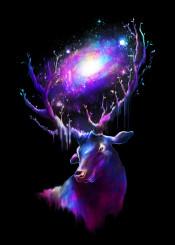 deer animal space galaxy universe neon colors horns stars milky way cool nature environment tree digital art design illustration surreal painting