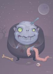 zombie fat cartoon dead rot spooky monster halloween intestines gross