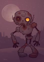 zombie robot android halloween cartoon vector moon rust