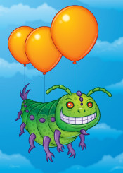clouds balloon sky vector fly cartoon flight insect bug caterpillar grin smile butterfly