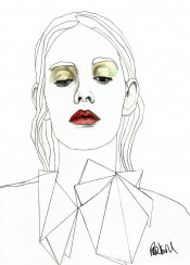drawing illustration art design fashion red lips face girl woman pencil modern model line