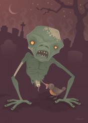 zombie cartoon dead rot spooky monster robin halloween bird grave graveyard cemetery