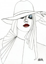 art drawing design illustration fashion red lips girl woman hat modern line style model