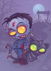 cat ghost vector zombie cartoon spooky grave monster cemetery halloween