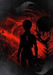 eren titan attack on ink inking key glow glows glowing red crimson power anime manga japan japanese space star stars mikasa uni qwertee armin