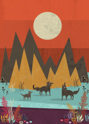 animal animals wolf wolves nature wild flower orange yellow illustration texture grunge landscape scenery enchanted moon