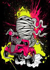 mummy race car hotrod fast ratfink truck yello