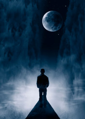 blue moon surreal dreamy illustration silhouette male mist haze dreamscape stars space road perspective manipulation composing