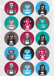 robot robots robotic cute comic red green blue illustration pattern