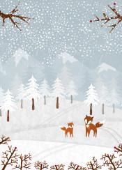 fox animal nature landscae wild snow illustration trees forest winter bird cute blue orange grey scenery