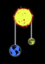 space moon sun earth funny pulley art design barmalisirtb