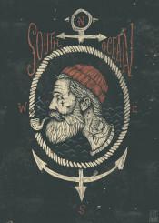 sailor anchor vintage retro sea compass beard south ocean tattoo