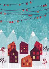winter village snow house architecture purple orange teal grunge texture landscape mountain festive holidays