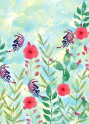 watercolor floral flowers butterfly animals wild cute beautiful painting abstract colors colorful