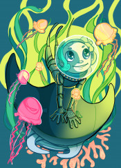 explorer ocean nature wildlife saturated discovery jellyfish diver scubadiver children illustration conceptart joy happy happiness mantaray sea exploration wandelust color digitalart fantasy kids decorative unique original green blue vibrant indie independentartist girl algae coral bright nice