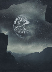 planet space surreal mountains dreamy texture earth mist stars landscape silhouettes night haze