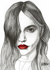 red lips art drawing illustration fashion portrait portraiture girl woman mod modern model home decor eyes hair pencil colour graphite expeditionaryclub paulnelsonesch