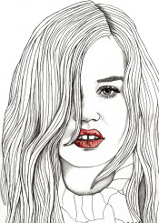 red lips art drawing illustration portrait portraiture fashion home decor mod modern eyes hair face girl woman
