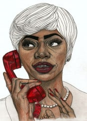 red lips art drawing fashion illustration portrait portraiture pencil colour telephone eyes face model modern hair decor home paulnelsonesch expeditionaryclub graphite