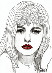 red lips fashion illustration drawing art pencil colour lipstick mod modern home decor eyes hair girl women portrait portraiture model beauty