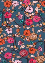 floral flower flowers pink orange vintage butterfly grey blue leaf summer autumn sping