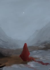 red mountain clouds moon sand water grass speed paint cloak robe hill river waves reflection