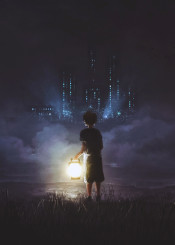 cold quiet city lamp fairy tale grass beach night time boy young black shorts clouds fog weird strange nostalgic lights dark