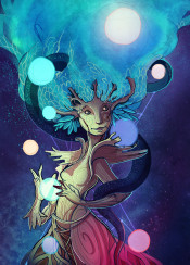 nature yggdrasil mythology surreal surrealism tree planets space universe worldtree worlds scifi fantasy sciencefiction originalart digitalart colorful sky stars creature god goddess deity magic magical weird character conceptual conceptart green blue midgard norsemythology bright saturated treefolk mothernature gaia life treeoflife unique