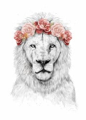 lion animal floral flower crown humor funny drawing spring festival