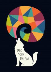 wolf dream rainbow geometric universe