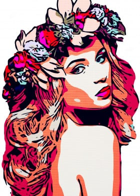 comic beauty beautiful floral flower wreath blonde pink women woman curly hair